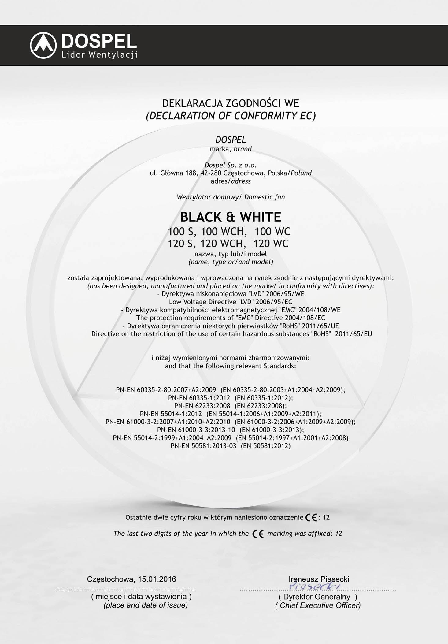 Wentylator domowy, Black White, certyfikat, deklaracja zgodności, producent wentylatorów, Dospel