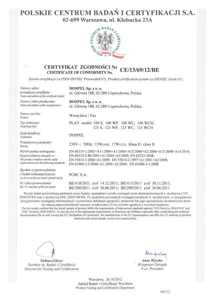 Wentylator domowy, Play, certyfikat, deklaracja zgodności, Dospel