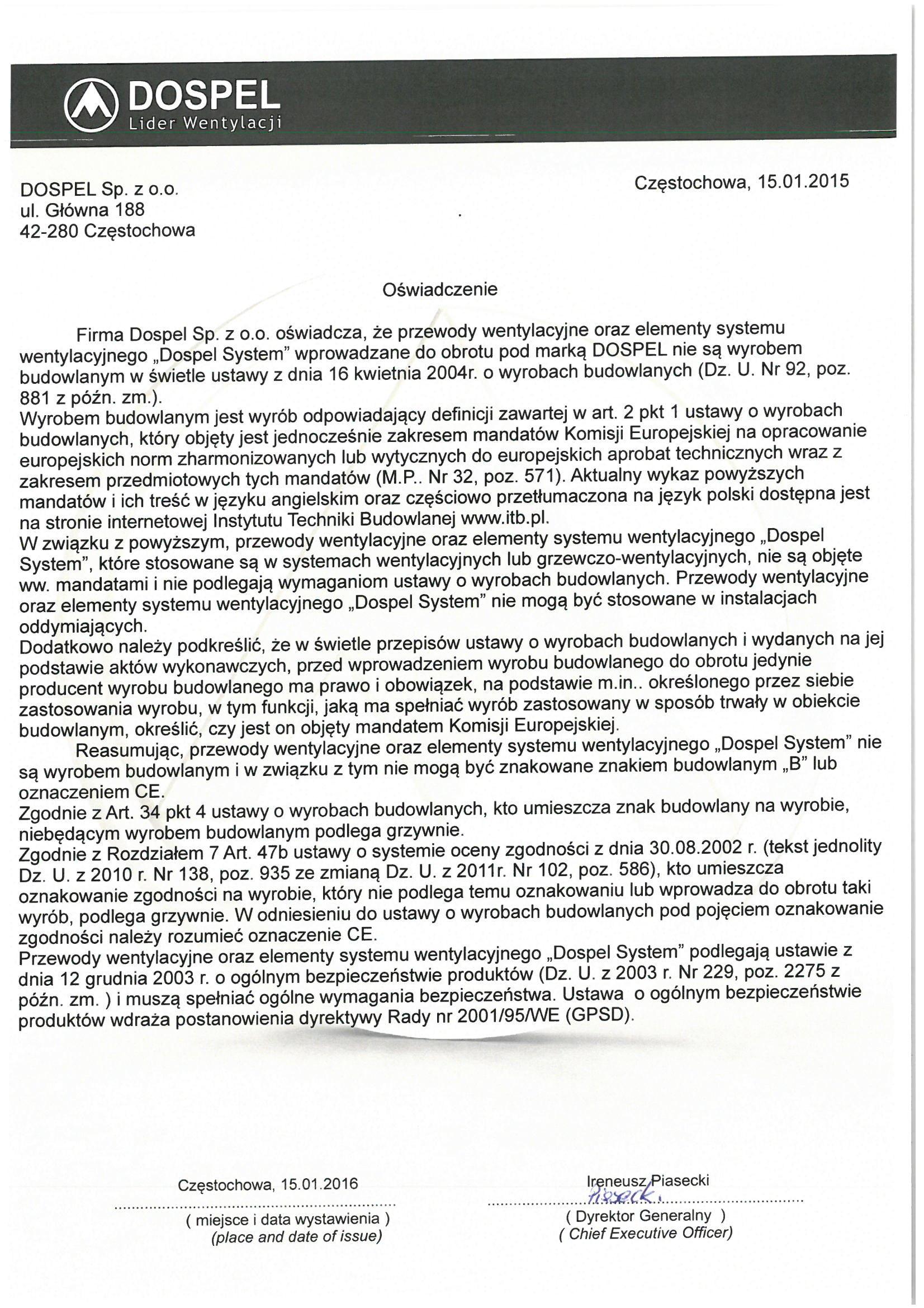 Przewody wentylacyjne, certyfikat, deklaracja zgodności, producent wentylatorów, Dospel