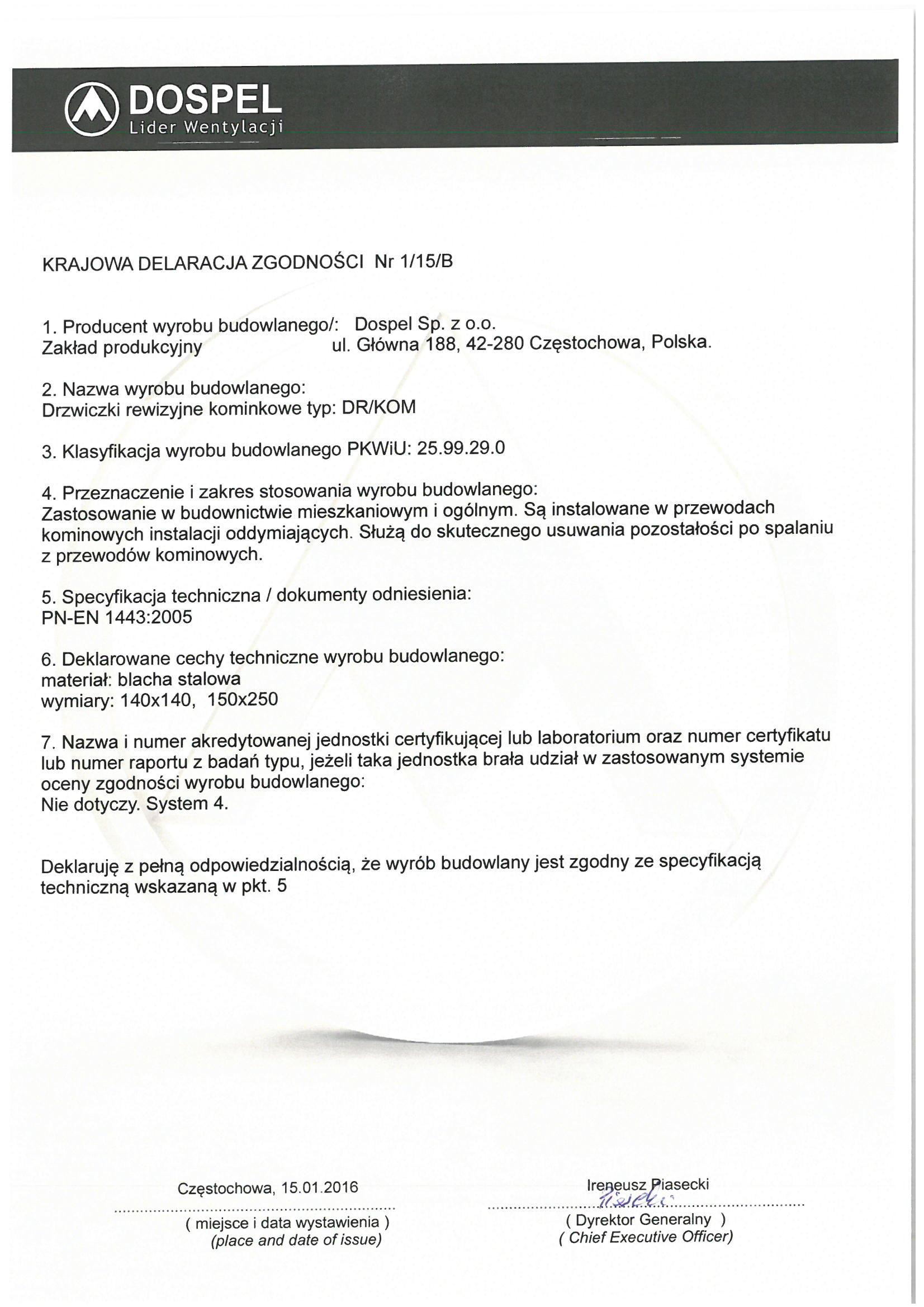 Drzwiczki kominkowe, certyfikat, deklaracja zgodności, producent wentylatorów, Dospel