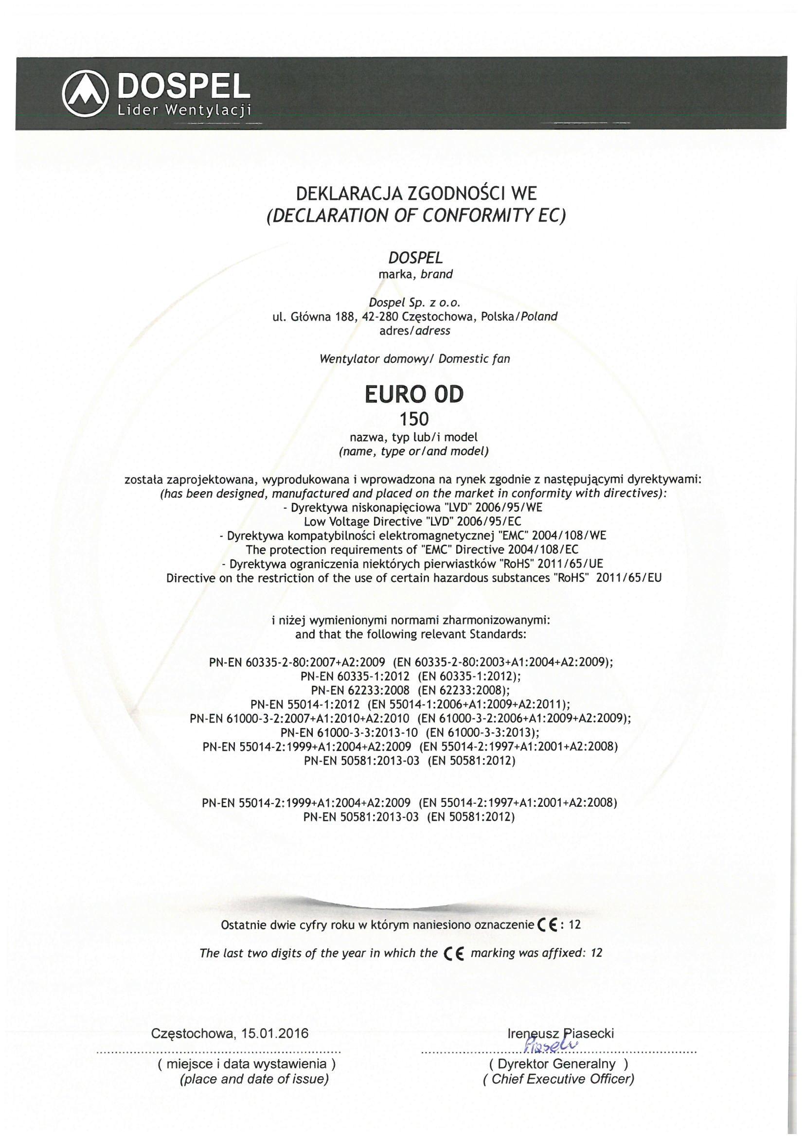 Wentylator domowy, EURO 0D, certyfikat, deklaracja zgodności, producent wentylatorów, Dospel