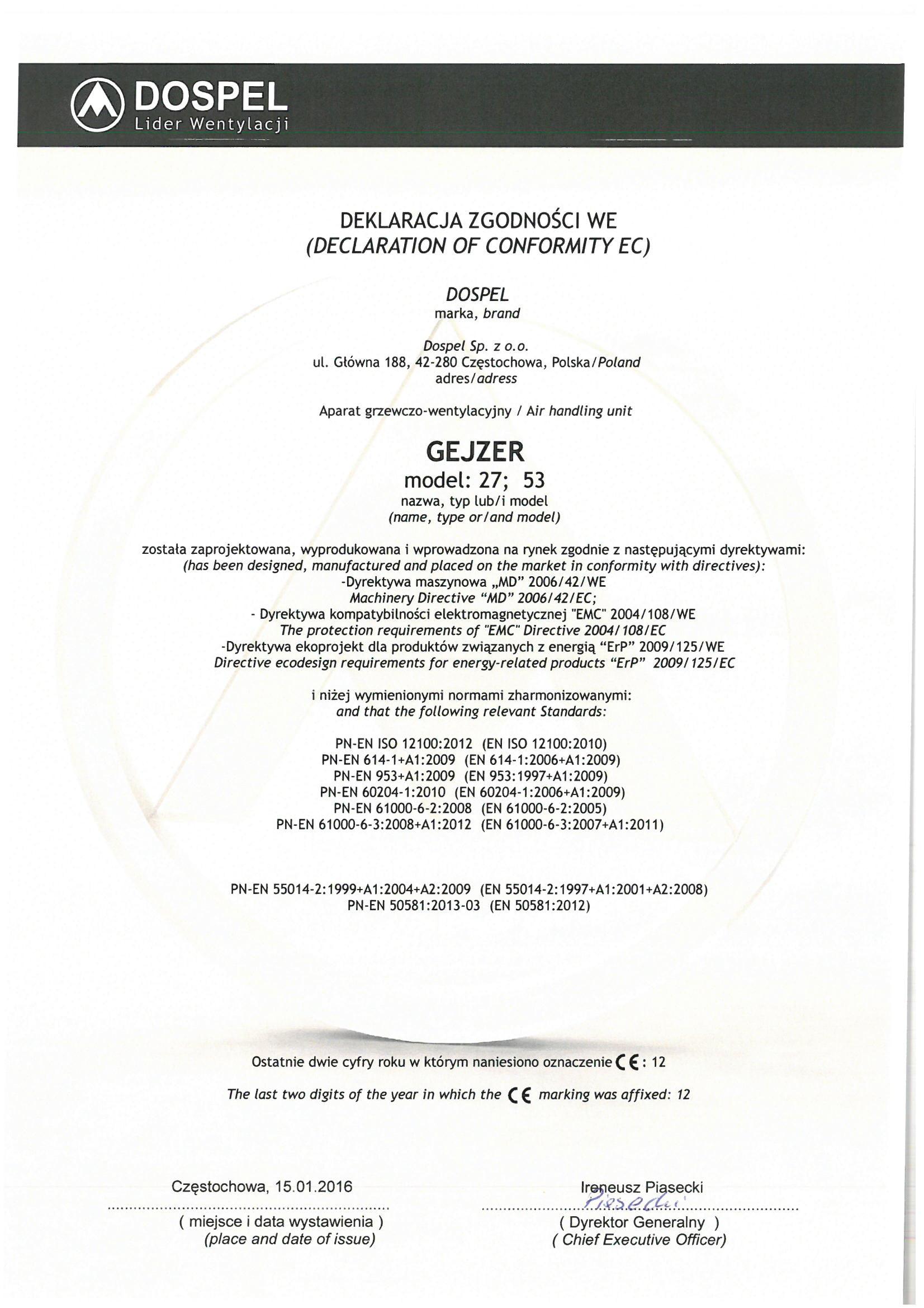 Aparat grzewczo wentylacyjny, Gejzer, certyfikat, deklaracja zgodności, producent wentylatorów, Dospel