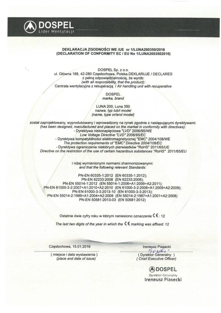 Centrala wentylacyjna rekuperator, Luna 200, certyfikat, oświadczenie, deklaracja zgodności, producent wentylacji, Dospel
