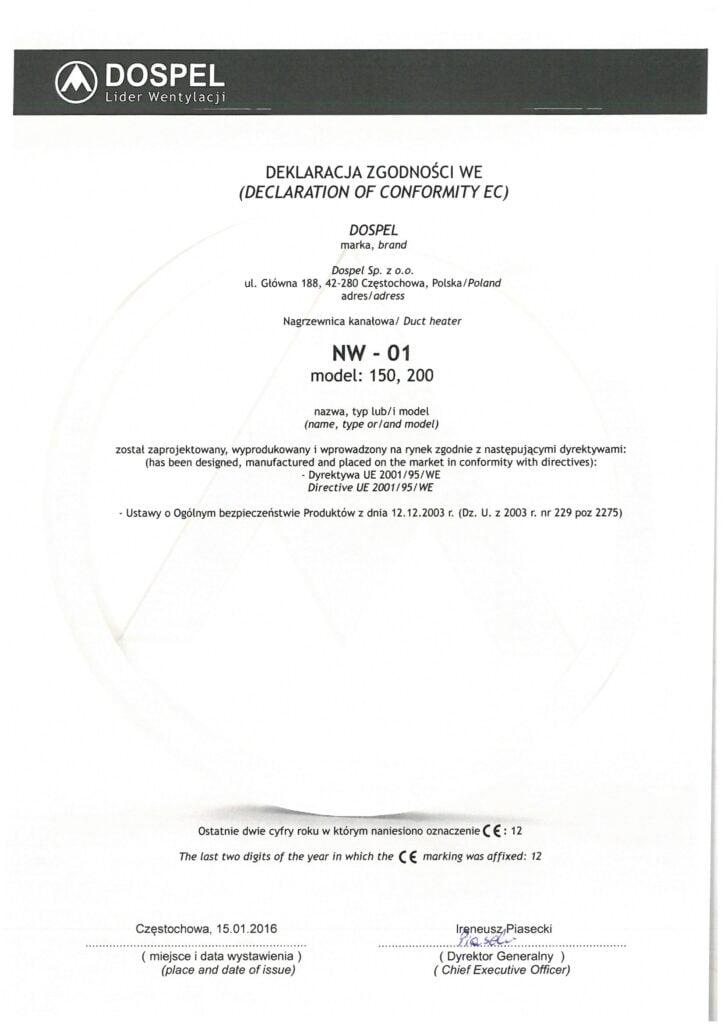 Nagrzewnica wodna, NW01, NW02, certyfikat, deklaracja zgodności, producent wentylatorów, Dospel