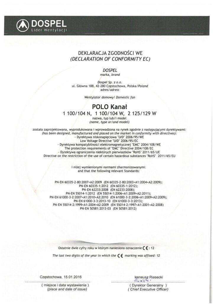 Wentylator domowy, ścienny, POLO 1, POLO 2, certyfikat, deklaracja zgodności, producent wentylatorów, Dospel