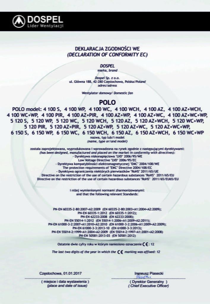 Wentylator domowy, ścienny, POLO 4, POLO 5, POLO 6, certyfikat, deklaracja zgodności, producent wentylatorów, Dospel