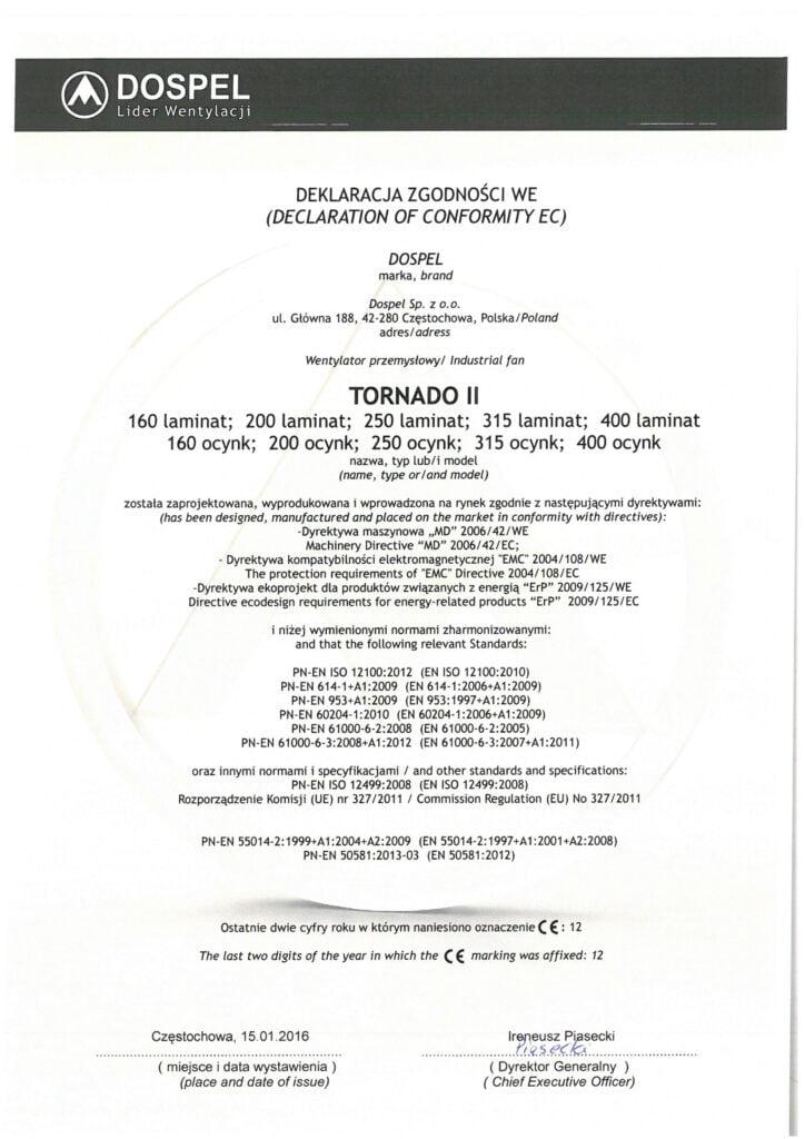 Wentylator dachowy, Tornado II, certyfikat, deklaracja zgodności, producent wentylatorów, Dospel