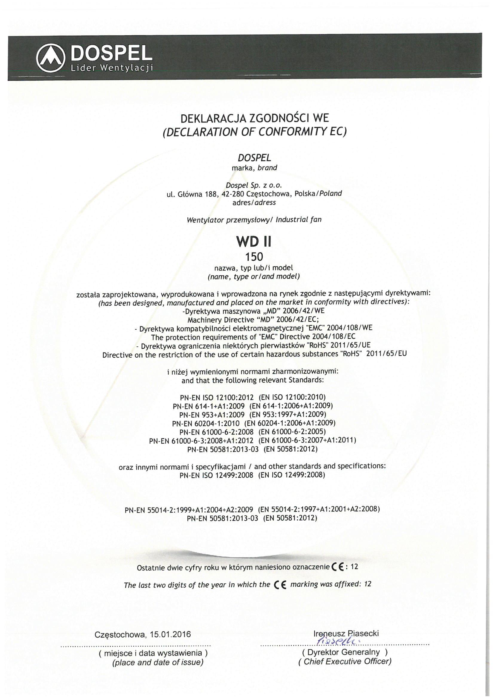 Wentylator dachowy, WD II 150, certyfikat, deklaracja zgodności, producent wentylatorów, Dospel