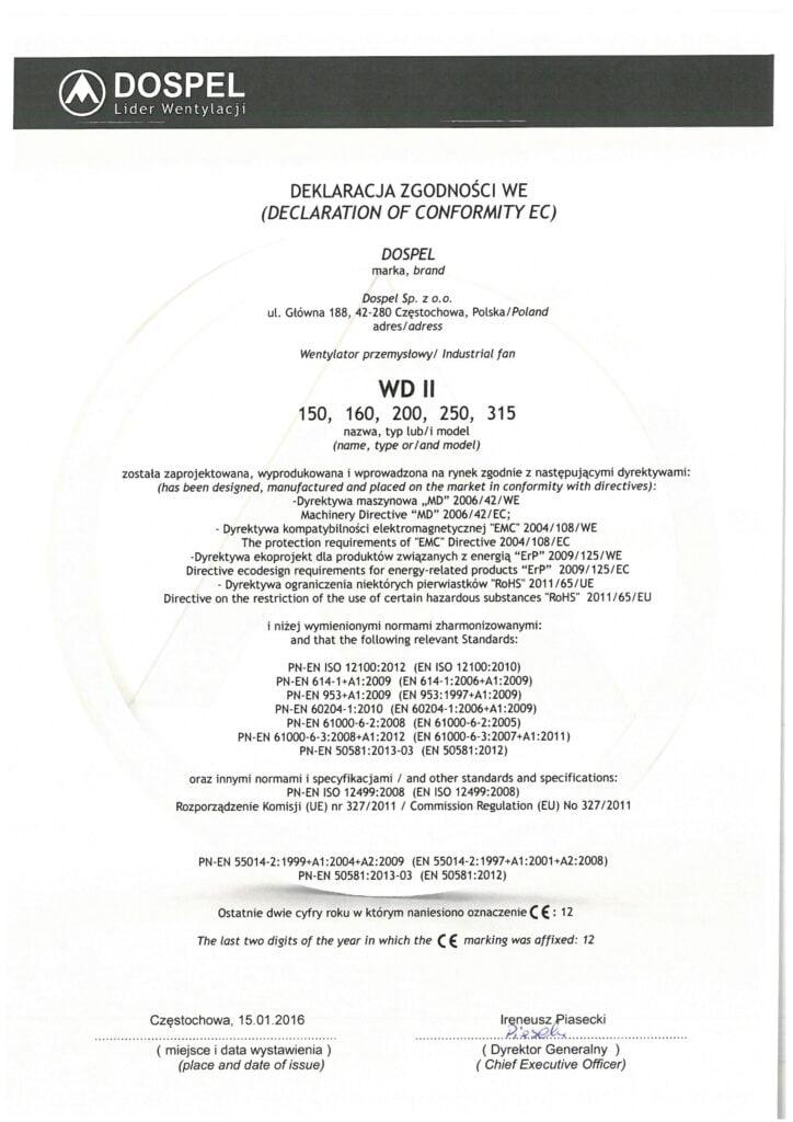 Wentylator dachowy WD II 200, 250, 315, certyfikat, deklaracja zgodności, producent wentylatorów, Dospel