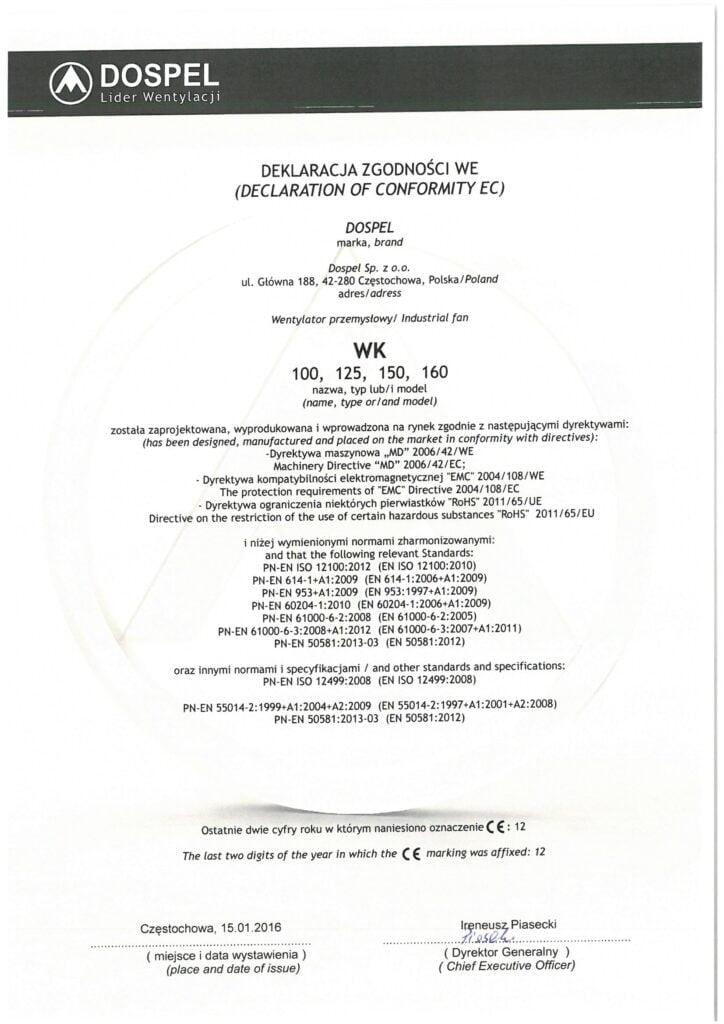 Wentylator przemysłowy kanałowy, WK, certyfikat, deklaracja zgodności, producent wentylatorów, Dospel