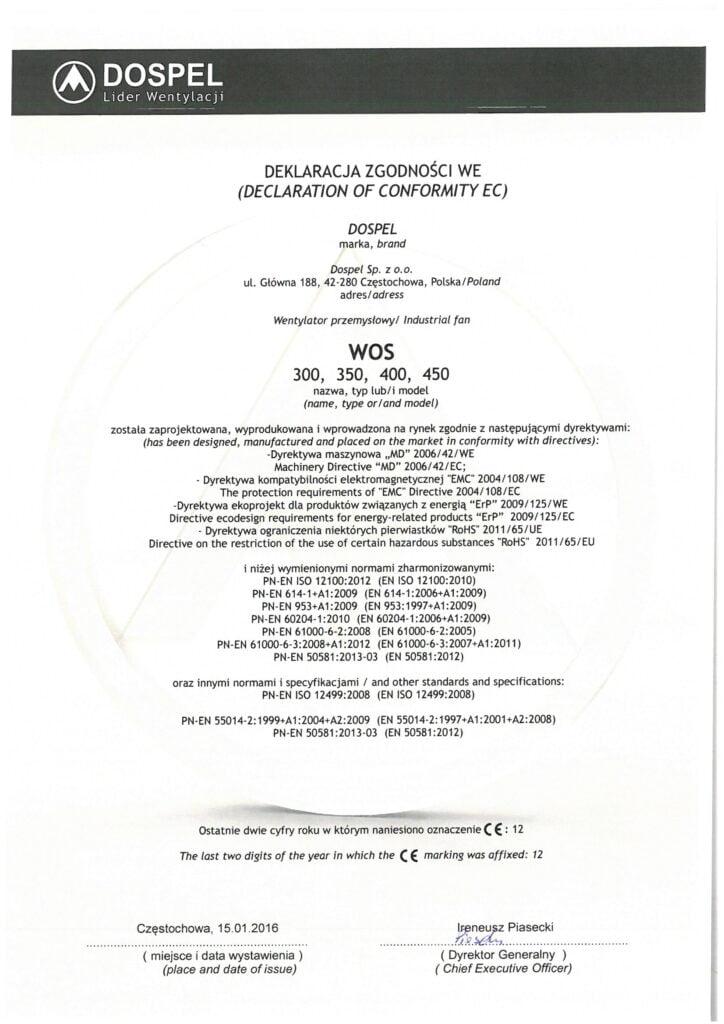 Wentylator przemysłowe, ścienne, WOS, certyfikat, deklaracja zgodności, producent wentylatorów, Dospel