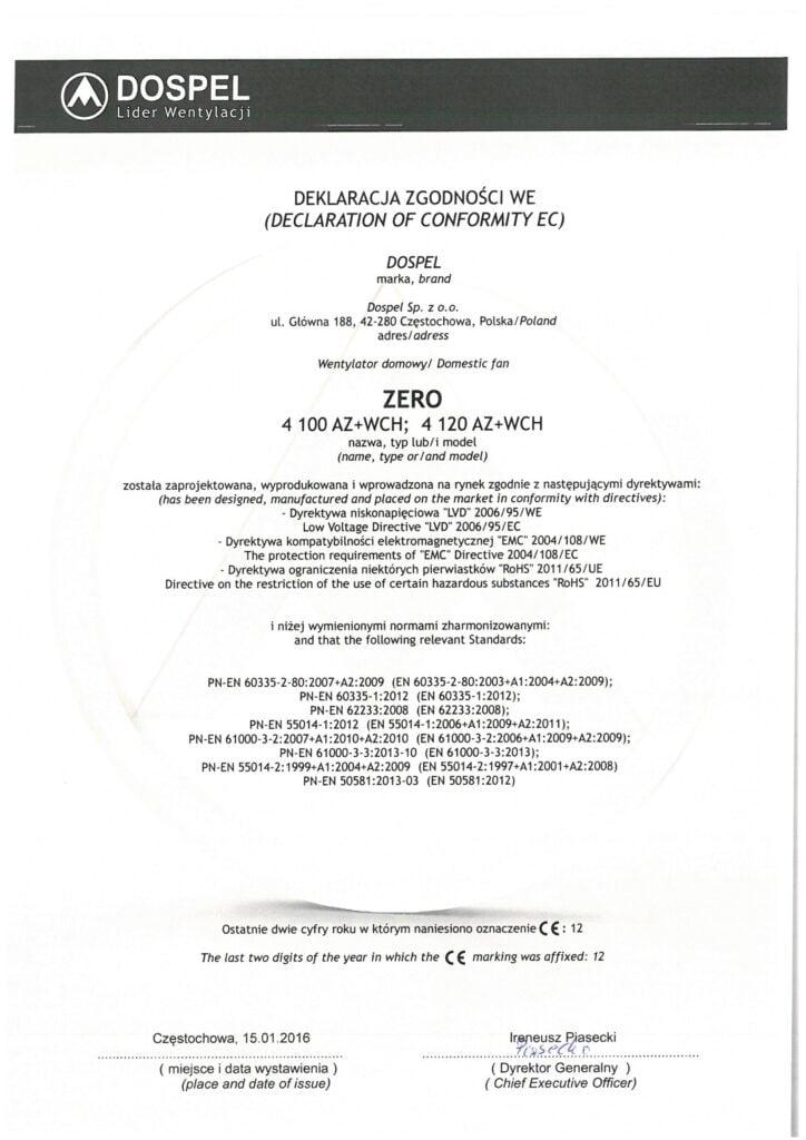 Wentylator domowy, ZERO, certyfikat, deklaracja zgodności, producent wentylatorów, Dospel